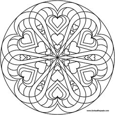 Difficult Level Mandala Coloring Pages | heart mandala to color- PNG version