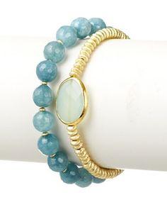Diane Yang Designs Aquamarine and Quartz Stretchy Bracelet Set