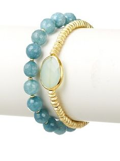 60% OFF Diane Yang Designs Aquamarine and Quartz Stretchy Bracelet Set