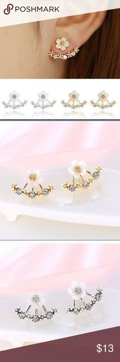 Floral Crystal Stud Earrings 2 WHITE GOLD LEFT These earrings are so pretty and a best seller. NWT condition. I have 2 white gold left Jewelry Earrings