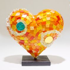 Erin Rogers 2014 Limited Edition Mini Mosaic Heart Sculpture - Hearts in SF......ᗷᕮᗩᑌ☂ᓰℱᕰᒪ