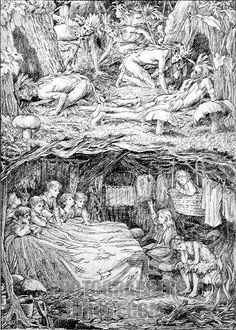 J . M . Barries Peter Pan Peter and Wendy . Illustration by F . D . Bedford , 1920s . JMB : ( James Matthew Barrie ) Scottish novelist and playwright 9 May 1860 – 19 June 1937 . stock photo