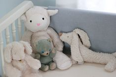 Emma& Nursery My vision for our daughter& nursery was a soft, cuddly and cozy room filled with an eclectic mix of items - old and new, . Light Blue Nursery, Cream Nursery, Nursery Neutral, Sheep Mobile, Teddy Bear Nursery, Nursery Room, Nursery Ideas, Room Ideas, Blanket Chest