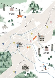 Travel infographic Noémie Cédille map of Megeve Travel Illustration, Graphic Illustration, Urban Mapping, Mental Map, Map Projects, Exhibition Poster, Map Design, Map Art, Illustrations