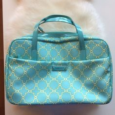 Stella & Dot Teal Large Jewelry Case Gently used for jewelry storage and transport as a Stella &Dot stylist. Tons of compartments inside and out can hold a very large amount of jewelry. Hooks for delicate necklaces, a soft ring bar and multiple different size compartments. It's hard for me to let this one go... The interior fabric is made of the same fabric as Stella & Dots cleaning clothes to prevent jewelry from tarnishing. Ring bar has small area that is coming unsewed but could easily be…