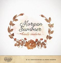 Premade Logo Hand Drawn Wreath Custom design for Photography and Small business. $39.90, via Etsy.