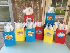 Super Hero Party Bags, Super Hero Goody Bags, Super Hero Word Bubbles, Super Hero Birthday, Super Hero Party, Super Hero Favors, Set of 8 by GlitterChickParty on Etsy https://www.etsy.com/listing/294567005/super-hero-party-bags-super-hero-goody