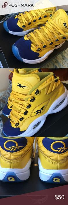 """Reebok Question Mid """"Unworn"""" RARE Reebok questions. Worn a handful of times. Still much more wearability. Great for casual wear and sports wear. Extremely comfortable. I received so many compliments when I wore them! ✨🙌🏼❤️ Reebok Shoes Sneakers"""