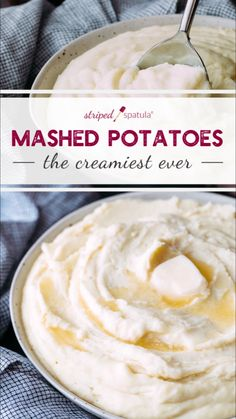 These Cream Cheese Mashed Potatoes are the creamiest potatoes youll ever taste. Rich and indulgent they are perfect for Thanksgiving or any holiday dinner. Make ahead and reheat over simmering water for easy entertaining. Cream Potatoes Recipe, Cream Cheese Mashed Potatoes, Easy Mashed Potatoes, Creamed Potatoes, Creamiest Mashed Potatoes, Thanksgiving Mashed Potatoes Recipe, Cheesy Potatoes, Baked Potatoes, Gastronomia