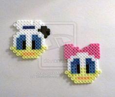 Walt Disney's Donald and Daisy Duck perler beads by SkellieBeads on deviantART