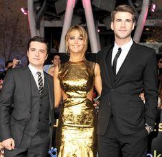 Josh Hutcherson (Peeta). Jennifer Lawrence (Katniss). Liam Hemsworth (Gale) The Hunger Games LA premiere. hollygrail