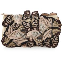 Alice + Olivia Embroidered Butterfly Clutch Bag, Nude (€485) found on Polyvore
