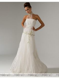 Beautiful A-line Floor-Length Halter Court Train Two-layers Wedding Dresses