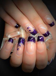 Gel, Magic Purple Fine French & Foils www.wickednails.nl https://www.facebook.com/wickednails.nl