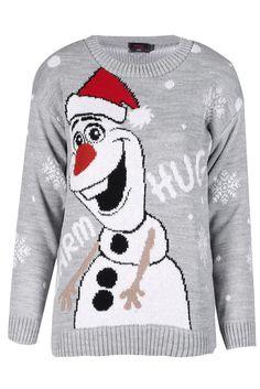 LADIES I LIKE WARM HUGS SNOWMAN KNITTED CHRISTMAS JUMPER