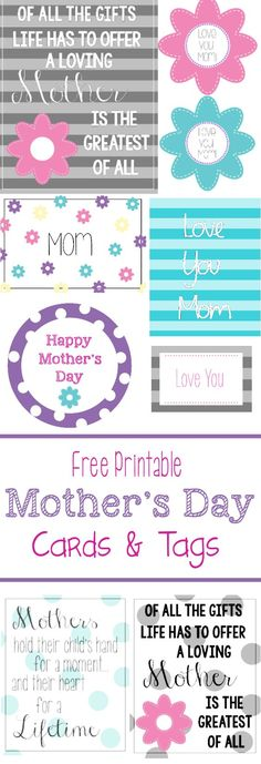 Free Printable Cards & Tags for Mother's Day by Crazy Little Projects