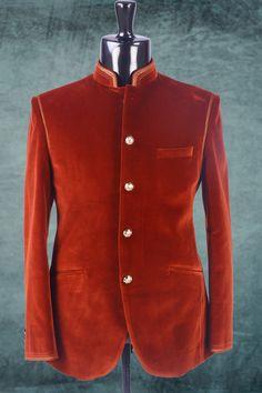 Brown plain velvet suit in full sleeves-ST248 #brown #plain #velvet #mens #designer #fashion #suit #partywear #reception #wedding #groom #collection #casual #festive #dress #cloths #samyakk #gallery