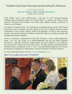 President Putin Gives Parenting Award to Jehovah's Witnesses