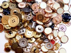 Mixed Metal Buttons, New Old Stock Garment Buttons, 200 pieces, Button Lot # 1