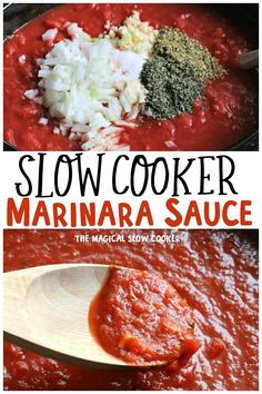 This makes a big batch of crockpot marinara sauce for freezing. Great for making spaghetti lasagna and more! Slow Cooker Pasta, Healthy Slow Cooker, Crock Pot Slow Cooker, Crock Pot Cooking, Slow Cooker Recipes, Crockpot Recipes, Cooking Recipes, Slow Cooker Spaghetti Sauce, Homemade Marinara