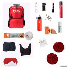 Cheer bag essentials – World Soccer News Cheer Practice Outfits, Cheer Outfits, Cheer Tryouts, Cheer Coaches, Cheer Survival Kit, Cheerleading Tips, Cheer Tips, Cheer Backpack, Cheer Moves