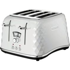 Inspired by the crystal artwork of Varisco, the Delonghi White Brillante 4 Slice Toaster is a stunning addition to any kitchen. The traditional metal finish normally employed by Delonghi in toaster design and manufacturing has been replaced by Four Slice Toaster, Bread Toaster, White Toaster, Kettle And Toaster, Kitchen Gourmet, New Kitchen, Kitchen Ideas, Kitchen Stuff, Toaster
