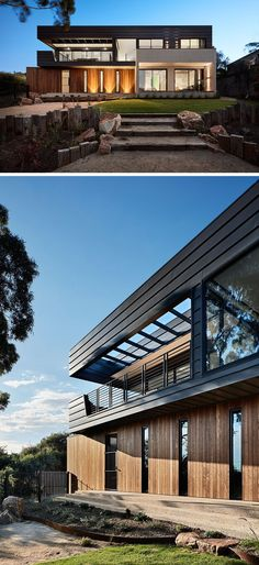 This contemporary house by Bryant Alsop Architects was designed for a semi-retired couple and their dog who wanted a private haven to entertain guests, and at the same time would engage with the surrounding trees and bay views.