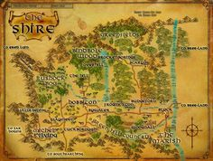 Map of Middle Earth Tolkien the shire Middle Earth Map, The Middle, Fellowship Of The Ring, Lord Of The Rings, Legolas, Hobbit Hole, The Hobbit Map, Shire Hobbit, Fantasy Map