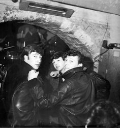Lennon, McCartney, and American rockabilly star Gene Vincent at The Cavern Club, Liverpool, early '6os.