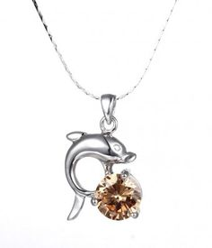 Dolphin Pendant Necklace with Orange Cubic Zirconia #CZ #Dolphin