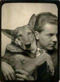 Cozy Photobooth Dog (Happy Holidays!), Vintage Photograph, c.1945, Collection of Barbara Levine