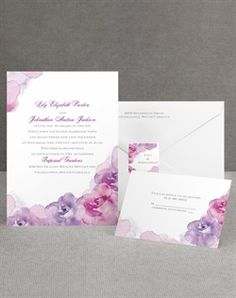 Invitations By Dawn Watercolor Roses Purple Wedding Invitations