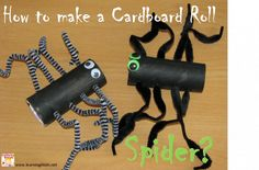 "How to make a Cardboard Roll Spider?  Great craft activity for halloween or linking to the book ""One Hungry Spider by Jeannie Baker"" {learning4kids.net}"