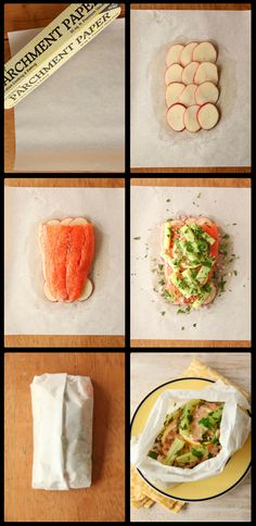 "How to Make ""Salmon en Papillote."" Sounds fancy, but it's super easy!"