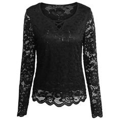 Cutout Long Sleeve Lace Blouse (51 BRL) ❤ liked on Polyvore featuring tops, blouses, shirts, lace blouse, long sleeve lace top, cutout blouse, lacy tops and cut-out tops