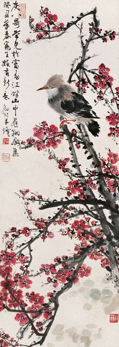 Lu Yifei(陆抑非) ,   红梅八哥 Chinese Painting Flowers, Japanese Painting, Sumi E Painting, Fabric Painting, Beauty In Art, Japan Art, Chinese Art, Watercolor Art, Sketches