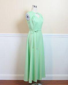 Vintage 1970's Long LIME GREEN Maxi Dress