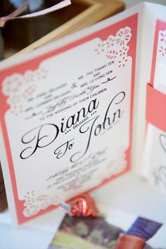 DIY invitations hand crafted by the bride! Photo by Jennifer Costello -- portlandbabyphoto.com