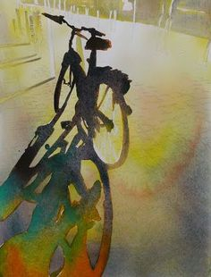 paintings: French Watercolor carol carter Glorious light and shadows! Cycling Art, Cycling Quotes, Cycling Jerseys, Cycling Bikes, Bicycle Art, Bicycle Design, Chiaroscuro, Schmuck Design, Oeuvre D'art