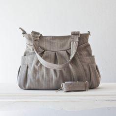 Shoulder bag , messenger bag , crossbody bag in cotton herringbone grey and blue - Elessa bag. $75.00, via Etsy.