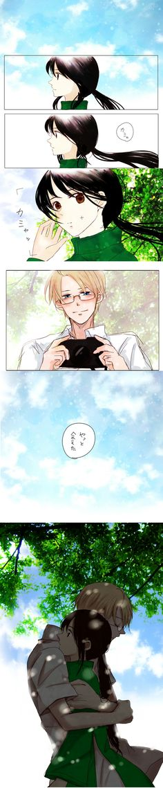Our adorable star couple: Vietnam and America. <3 Axis Powers: Hetalia's Kim and Alfred.