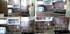 Mosaico de azulejos - Peças avulsas com 6 estampas de 10 x 10 em cada peça. formando um mosaico perfeito na cozinha.