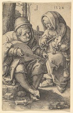 The Musicians; a man sitting on ground tuning a lute at left and an old woman playing a rebec at right; copy after Lucas van Leyden's engraving Engraving Renaissance Music, Medieval Music, Leiden, Motif Music, Music Drawings, Landsknecht, My Demons, Canvas Prints, Art Prints