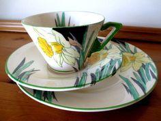 Art Deco / Vintage China / Pottery Tea Set Trio.Burleigh Ware Zenith. Daffodil