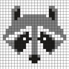 Mapache by Urcujiro on Kandi Patterns Kandi Patterns, Perler Patterns, Beading Patterns, Knitting Charts, Knitting Stitches, Knitting Patterns, Needlepoint Stitches, Beaded Cross Stitch, Cross Stitch Embroidery