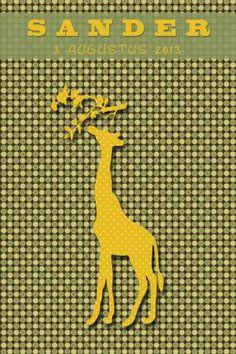 Geboortekaartje retro meisje of jongen - giraf - Pimpelpluis  https://www.facebook.com/pages/Pimpelpluis/188675421305550?ref=hl (# simpel - eenvoudig - retro - naam - dieren - origineel - geel - groen - giraf - silhouette)