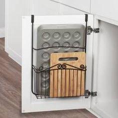 Durso Towel Bar and Basket Cabinet Door Organizer Pot Organization, Kitchen Cabinet Organization, Kitchen Cabinet Doors, Storage Cabinets, Storage Shelves, Kitchen Cabinets, Storage Ideas, Storage Solutions, Kitchen Island