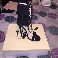 Open toe heels Suede Fringe cuff lace up single sole heel Tiara Los Angeles Shoes Heels