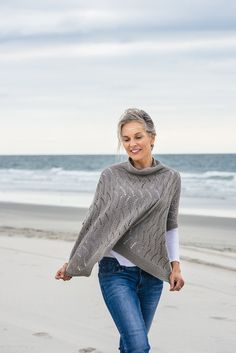 Stone Point Poncho knitting pattern knit in The Fibre Co. Luma in 'Willow'