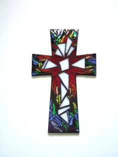"""Mosaic Wall Cross,  LARGE 15"""" x 9.25"""", Rainbow, Multicolored Handmade Stained Glass Mosaic Design on Etsy, $74.29 AUD"""